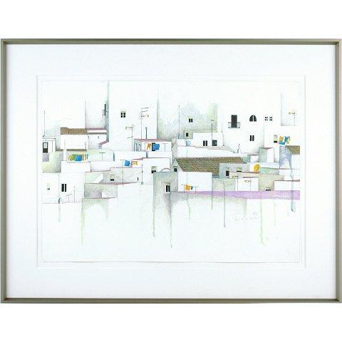 https://preciousart.de/Acrylbild Stadtansicht Daecher 3, Alu-Wechselrahmen, optisch entspiegeltes Glas, Rahmenformat Breite 66 x Hoehe 51 cm