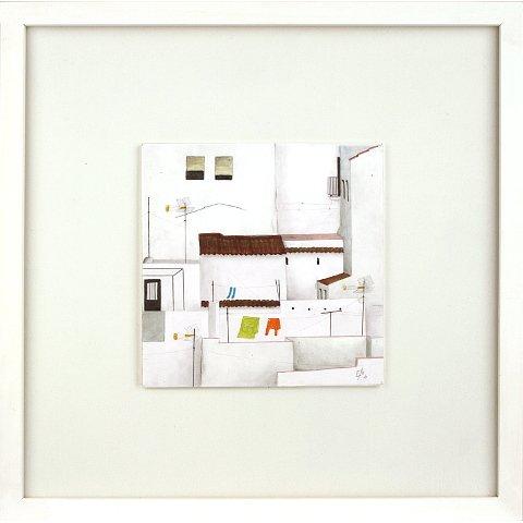 https://preciousart.de/Acrylgemälde moderne Stadtansicht, Titel Daecher, Schattenfugenrahmen weiss, Rahmenformat Breite 32 x Hoehe 32 x Tiefe 3 cm