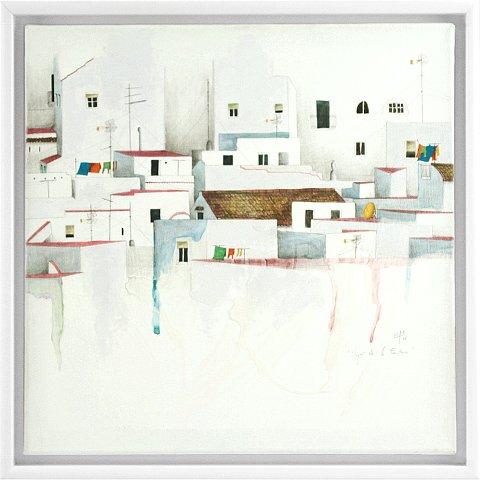 https://preciousart.de/Acrylgemälde moderne Stadtansicht, Titel Vejer de la Frontera, Rahmenformat Breite 44,5 x Hoehe 44,5 x Tiefe 4 cm