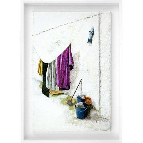 https://preciousart.de/Acrylgemälde moderne Stadtansicht, Titel ropa tendida, Hinterhof mit Waescheleine, Rahmenformat Breite 26 x Hoehe 36 x Tiefe 3 cm