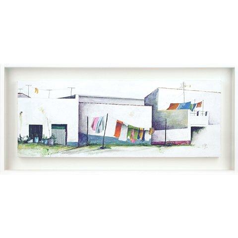 https://preciousart.de/Acrylgemälde moderne Stadtansicht, Titel ropa tendida, weisser Schattenfugenrahmen, Rahmenformat Breite 47 x Hoehe 22 x Tiefe 3 cm