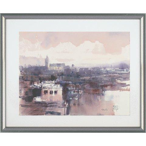 https://preciousart.de/Aquarell Stadtansicht Sevilla,Holzrahmen silber gewölbt, Rahmenformat Breite 53 x Hoehe 43 x Tiefe 2 cm, Plexiglas