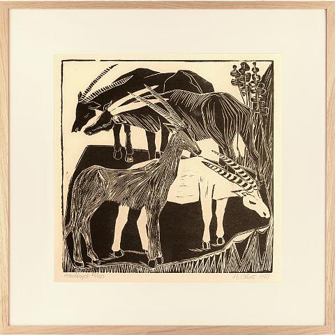 https://preciousart.de/Holzschnitt Antilopen Rahmen Eiche Natur Breite 62 cm x Hoehe 62 cm x Tiefe 2 cm Bildausschnitt 42 x 42 cm