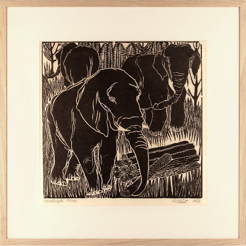 https://preciousart.de/Holzschnitt Elefanten Rahmen Eiche Natur Breite 62 cm x Hoehe 62 cm x Tiefe 2 cm Bildausschnitt 42 x 42 cm