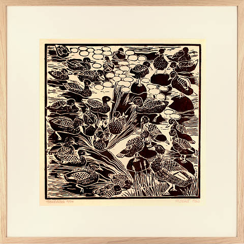 https://preciousart.de/Holzschnitt Enten Rahmen Eiche Natur Breite 62 cm x Hoehe 62 cm x Tiefe 2 cm Bildausschnitt 42 x 42 cm