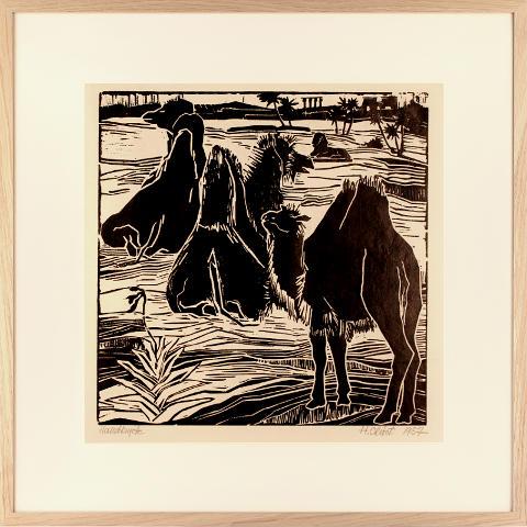https://preciousart.de/Holzschnitt Kamele Rahmen Eiche Natur Breite 62 cm x Hoehe 62 cm x Tiefe 2 cm Bildausschnitt 42 x 42 cm