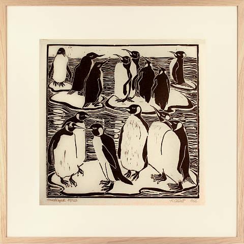 https://preciousart.de/Holzschnitt Pinguine Rahmen Eiche Natur Breite 62 cm x Hoehe 62 cm x Tiefe 2 cm Bildausschnitt 42 x 42 cm