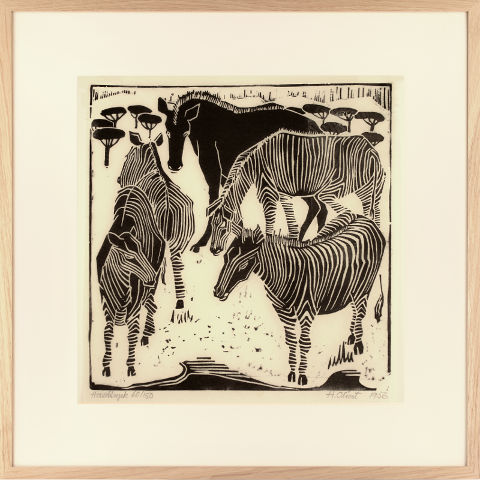 https://preciousart.de/Holzschnitt Zebras Rahmen Eiche Natur Breite 62 cm x Hoehe 62 cm x Tiefe 2 cm Bildausschnitt 42 x 42 cm