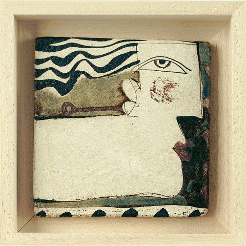https://preciousart.de/bemalte Keramik abstraktes Portrait, Titel persona,Schattenfugenrahmen Holz natur, Rahmenformat Breite 17 x Hoehe 17 x Tiefe 4cm