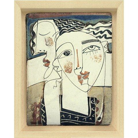 https://preciousart.de/bemalte Keramik abstraktes Portrait personas, Schattenfugenrahmen Holz natur, Rahmenformat Breite 21 x Hoehe 26 x Tiefe 4cm