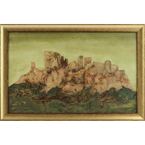 https://preciousart.de/Ölgemälde abstraktes Landschaftsbild, Titel Das Schloss, Rahmenformat Breite 64 x Hoehe 43 x Tiefe 3 cm