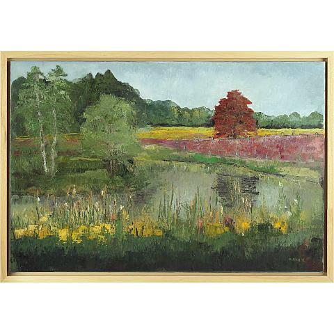https://preciousart.de/Ölgemälde Landschaftsbild, Titel Fluss bei Ootmarsum, Rahmenformat Breite 95 x Hoehe 65 x Tiefe 4 cm, Preis 2450 EUR