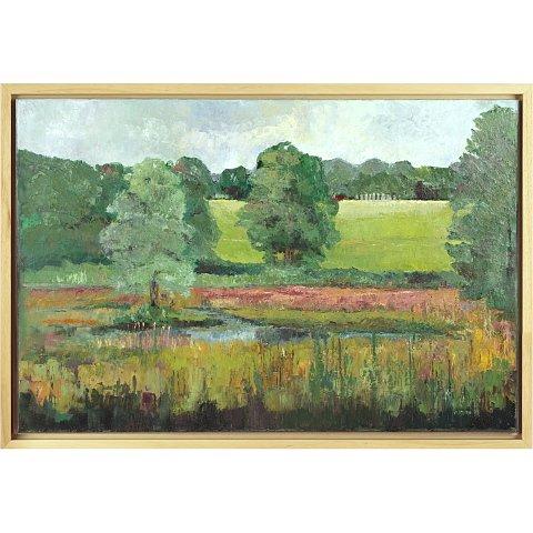 https://preciousart.de/Ölgemälde Landschaftsbild, Titel Flusslandschaft, Rahmenformat Breite 95 x Hoehe 65 x Tiefe 4 cm, Preis 2450 EUR