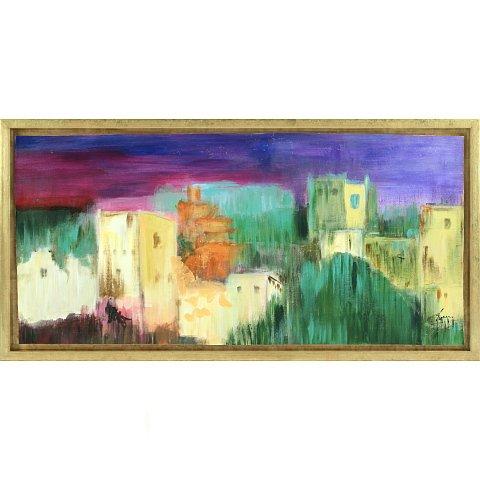 https://preciousart.de/Farbenprächtiges Ölgemälde expressive Stadtansicht, Titel al mediodia, Rahmenformat Breite 75 x Hoehe 38 cm, Preis 3290 EUR
