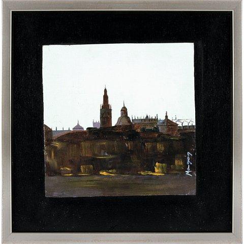 https://preciousart.de/Ölgemälde Stadtansicht bei Nacht, Titel a ultima hora 3, Rahmenformat Breite 26 x Hoehe 26 x Tiefe 1 cm