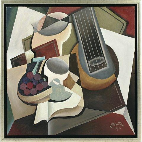 https://preciousart.de/Ölgemälde Kubistisches Stillleben mit Gitarre, Schattenfugenrahmen silber-schwarz, Rahmenformat Breite 55 x Hoehe 55 x Tiefe 5 cm