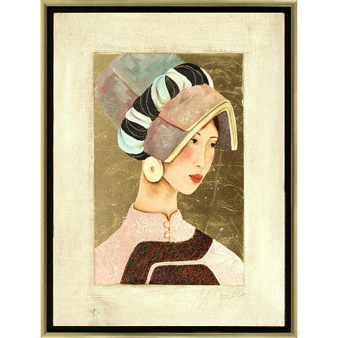 https://preciousart.de/Ölgemälde mit Blattgold, Titel Tibetische Frau 1, Rahmenformat Breite 44 x Hoehe 59 x Tiefe 4 cm, Preis 2180 EUR