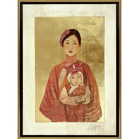 https://preciousart.de/Ölgemälde  mit Blattgold, Titel Tibetische Frau 2, Rahmenformat Breite 75 x Hoehe 78 x Tiefe 4 cm, Preis 3110 EUR