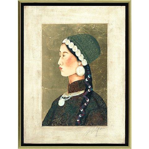 https://preciousart.de/Ölgemälde  mit Blattgold , Titel Tibetische Frau 3, Rahmenformat Breite 44 x Hoehe 59 x Tiefe 4 cm