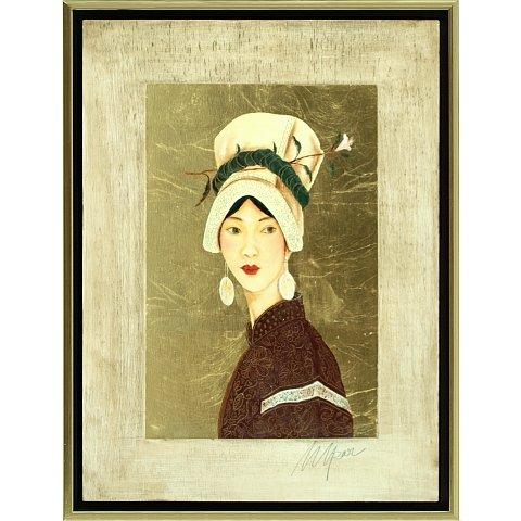 https://preciousart.de/Ölgemälde Portraitmalerei, Titel Tibetische Frau 4, Rahmenformat Breite 44 x Hoehe 59 x Tiefe 4 cm , Preis 2180 EUR