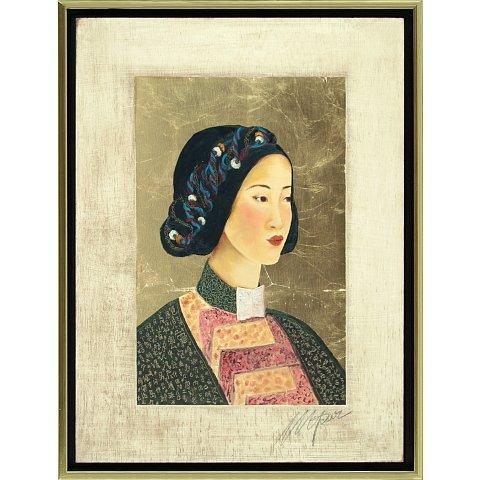 https://preciousart.de/Ölgemälde Portraitmalerei, Titel Tibetische Frau 5, Rahmenformat Breite 44 x Hoehe 59 x Tiefe 4 cm , Preis 2180 EUR