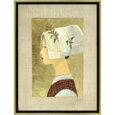 https://preciousart.de/Ölgemälde Portraitmalerei, Titel Tibetische Frau 6, Rahmenformat Breite 44 x Hoehe 59 x Tiefe 4 cm , Preis 2180 EUR