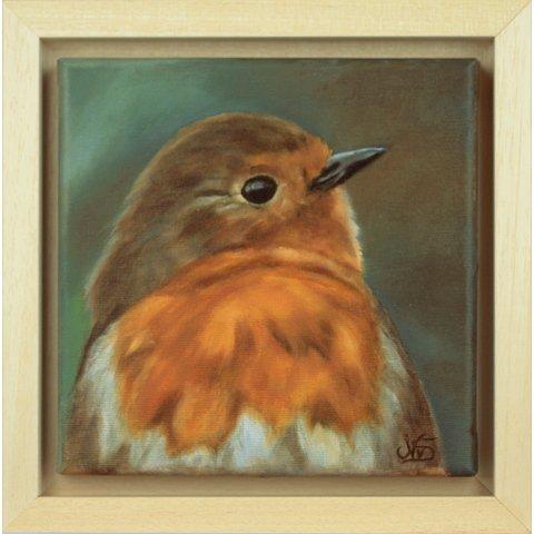https://preciousart.de/Ölgemälde Tiermalerei Vogel Rotkehlchen, Schattenfugenrahmen Holz natur, Rahmenformat Breite 25,5 x Hoehe 25,5 x Tiefe 4 cm
