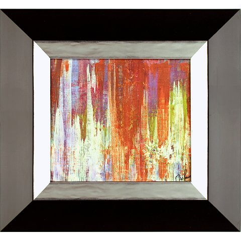 https://preciousart.de/Farbintensives Ölgemälde abstrakte Malerei, Titel transformacion, Holzrahmen, Rahmenformat Breite 43 x Hoehe 40 x Tiefe 3cm, Trapezform wenge-silber