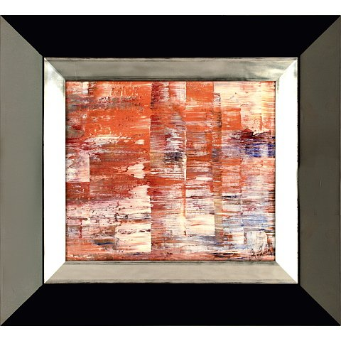 https://preciousart.de/Farbintensives Ölgemälde abstrakte Malerei, Titel transformacion 2Holzrahmen, Rahmenformat Breite 47 x Hoehe 43 x Tiefe 3cm, Trapezform wenge-silber