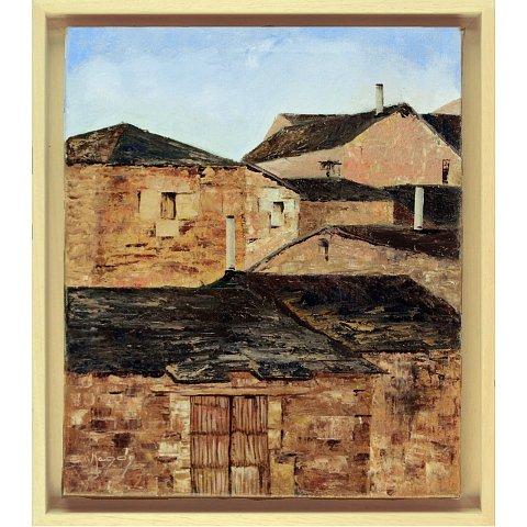 https://preciousart.de/Ölgemälde mediterane Stadtansicht, Titel Pueblo, Schattenfugenrahmen Holz natur, Rahmenformat Breite 34 x Hoehe 39 x Tiefe 4 cm