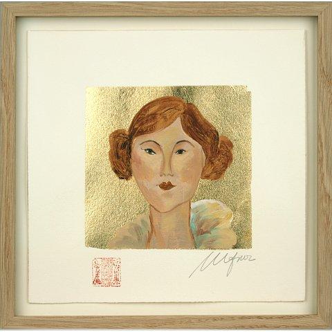 https://preciousart.de/Ölgemälde Portraitmalerei, Titel pelirroja 1, Schattenfugenrahmen eiche natur, Rahmenformat 28 x 28 x 3cm, optisch entspiegeltes Glas