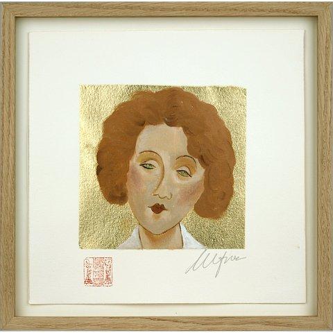 https://preciousart.de/Ölgemälde Portraitmalerei, Titel pelirroja 2, Schattenfugenrahmen eiche natur Rahmenformat 28 x 28 x 3 cm, optisch entspiegeltes Glas