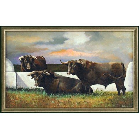 https://preciousart.de/Ölgemälde klassisches Landschaftsbild, Titel  schwarze Stiere, Holzrahmen schwarz-gold, Rahmenformat Breite 57 x Hoehe 37 x Tiefe 4 cm