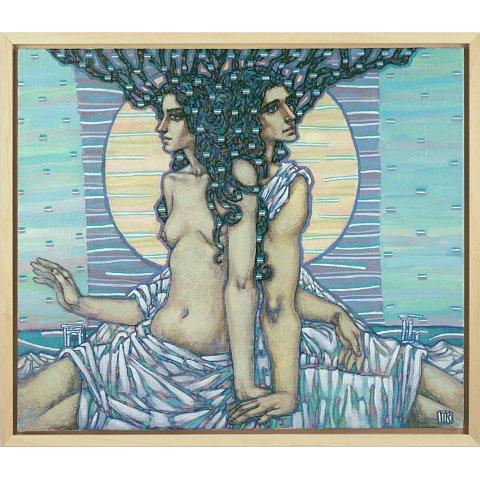 https://preciousart.de/Ölgemälde Jugendstil, Titel Schwestern, Schattenfugenrahmen Holz natur, Rahmenformat Breite 75 x Hoehe Tiefe 65 x 4 cm, Sichtkante 1,8 cm