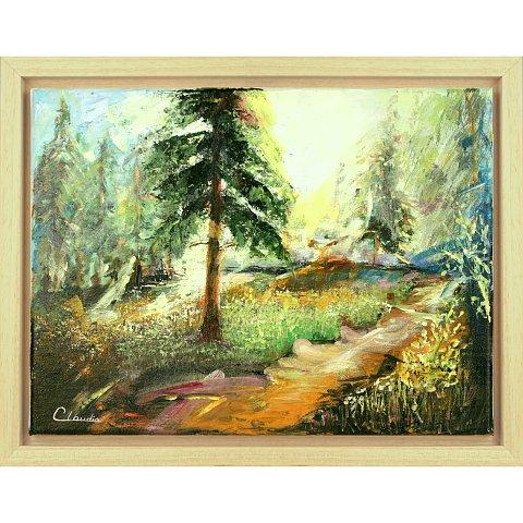 https://preciousart.de/Ölgemälde modernes Landschaftsbild, Titel Der Geruch des Waldes, Rahmenformat Breite 46 x Hoehe  36 x Tiefe 4 cm