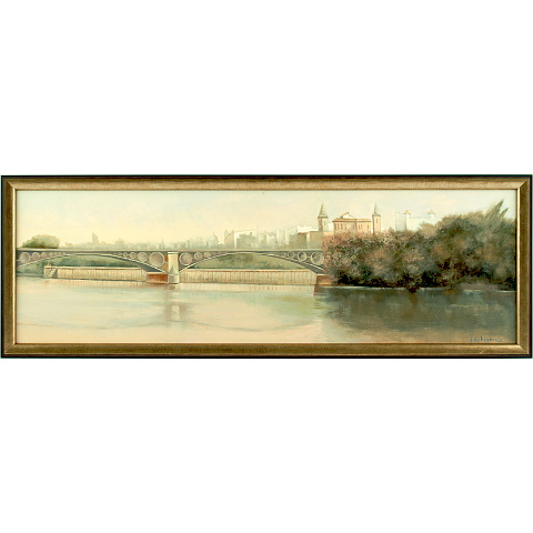 https://preciousart.de/Ölgemälde klassisches Landschaftsbild Flusslandschaft, Titel Puente de Isabel, Rahmenformat Breite 78 x Hoehe 27 x Tiefe 4 cm