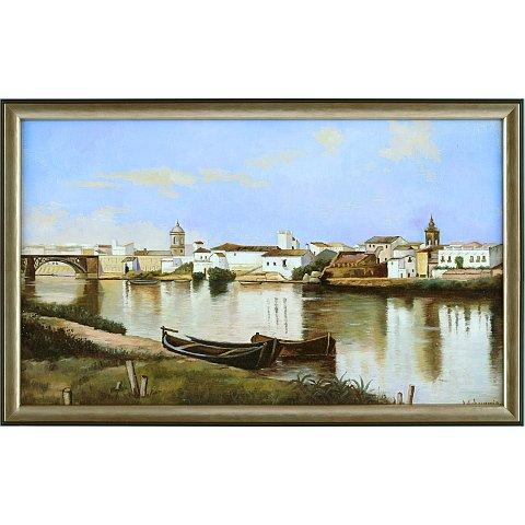 https://preciousart.de/Ölgemälde klassisches Landschaftsbild Flusslandschaft, Titel Triana, Holzrahmen schwarz-gold, Rahmenformat Breite 57 x Hoehe 37 x 4 cm